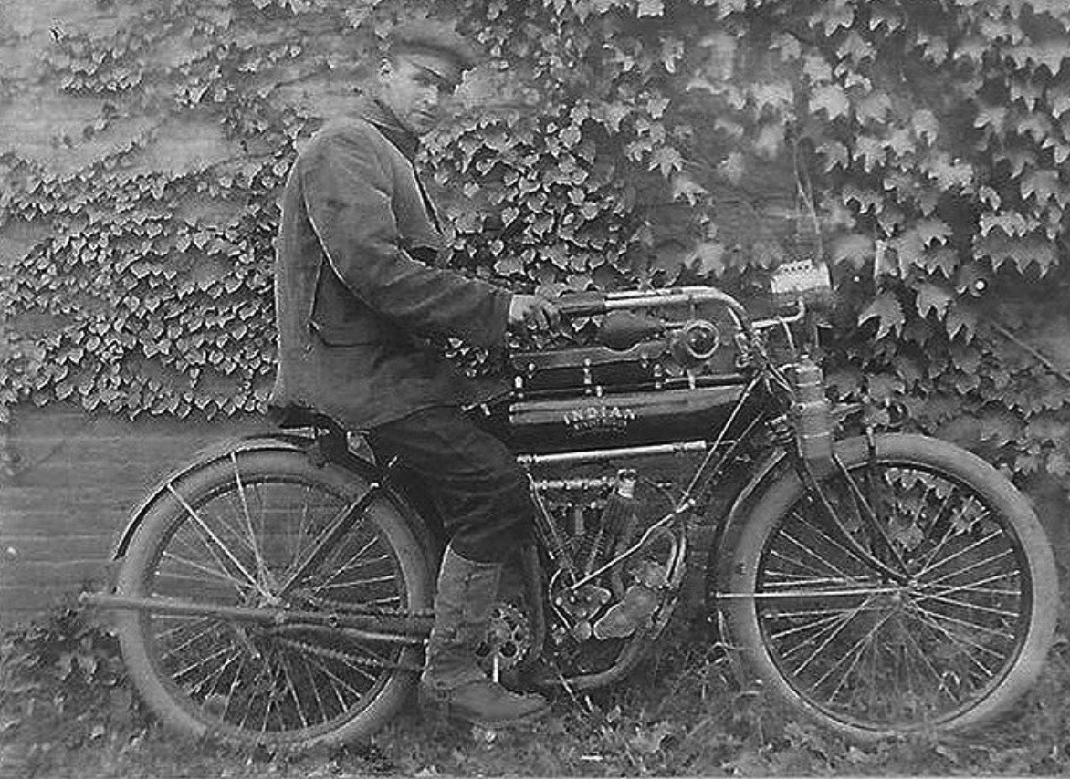 A #biker on a 1910 Indian #Motorcycle in the Town of #Lloyd, NY.