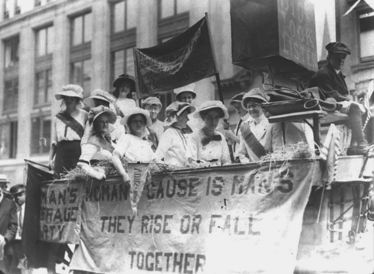 A suffrage float in a 1913 parade in Yonkers NY