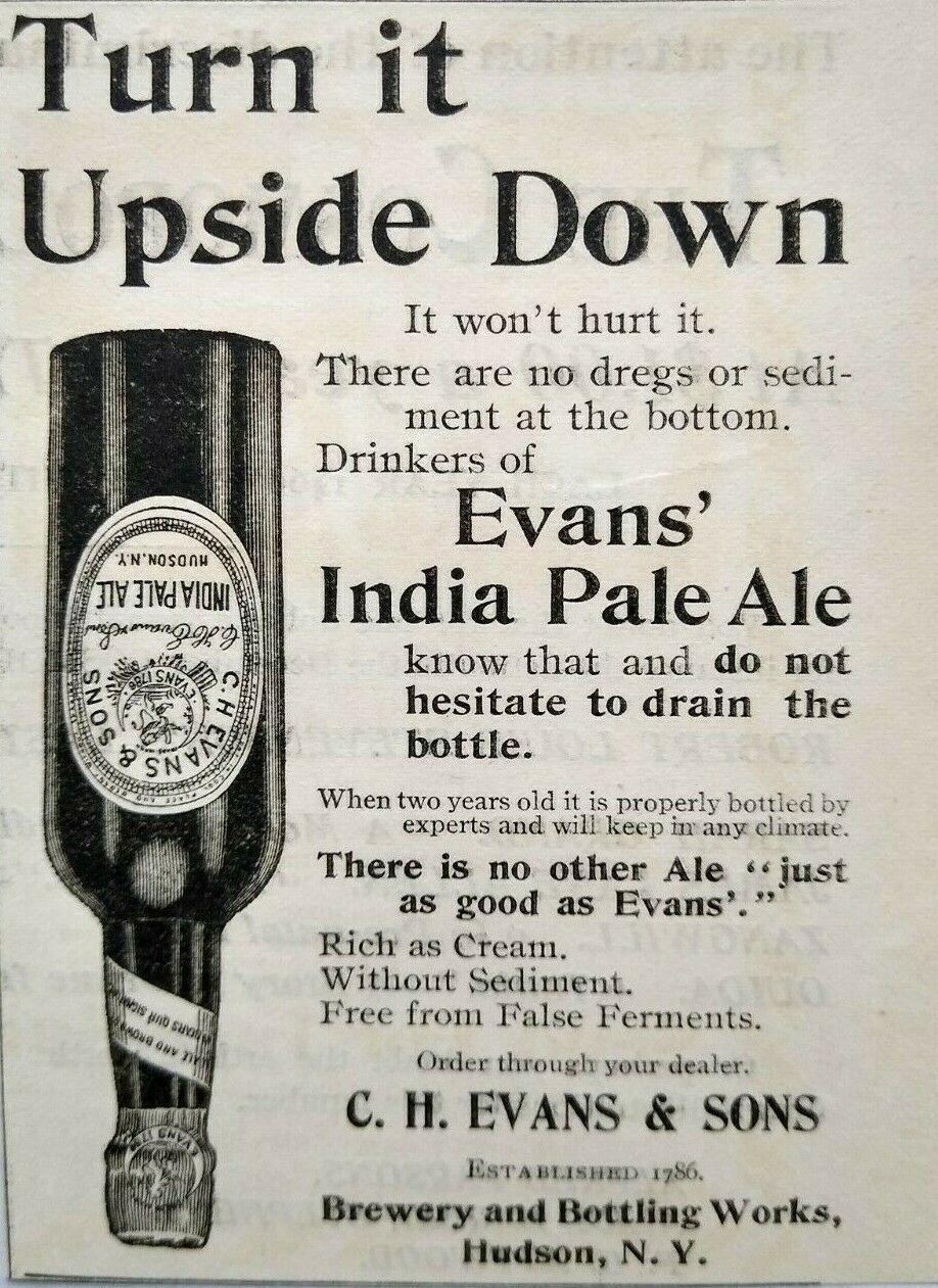 Hudson NY, Evans India Pale Ale Bottle c1895, Columbia County NY