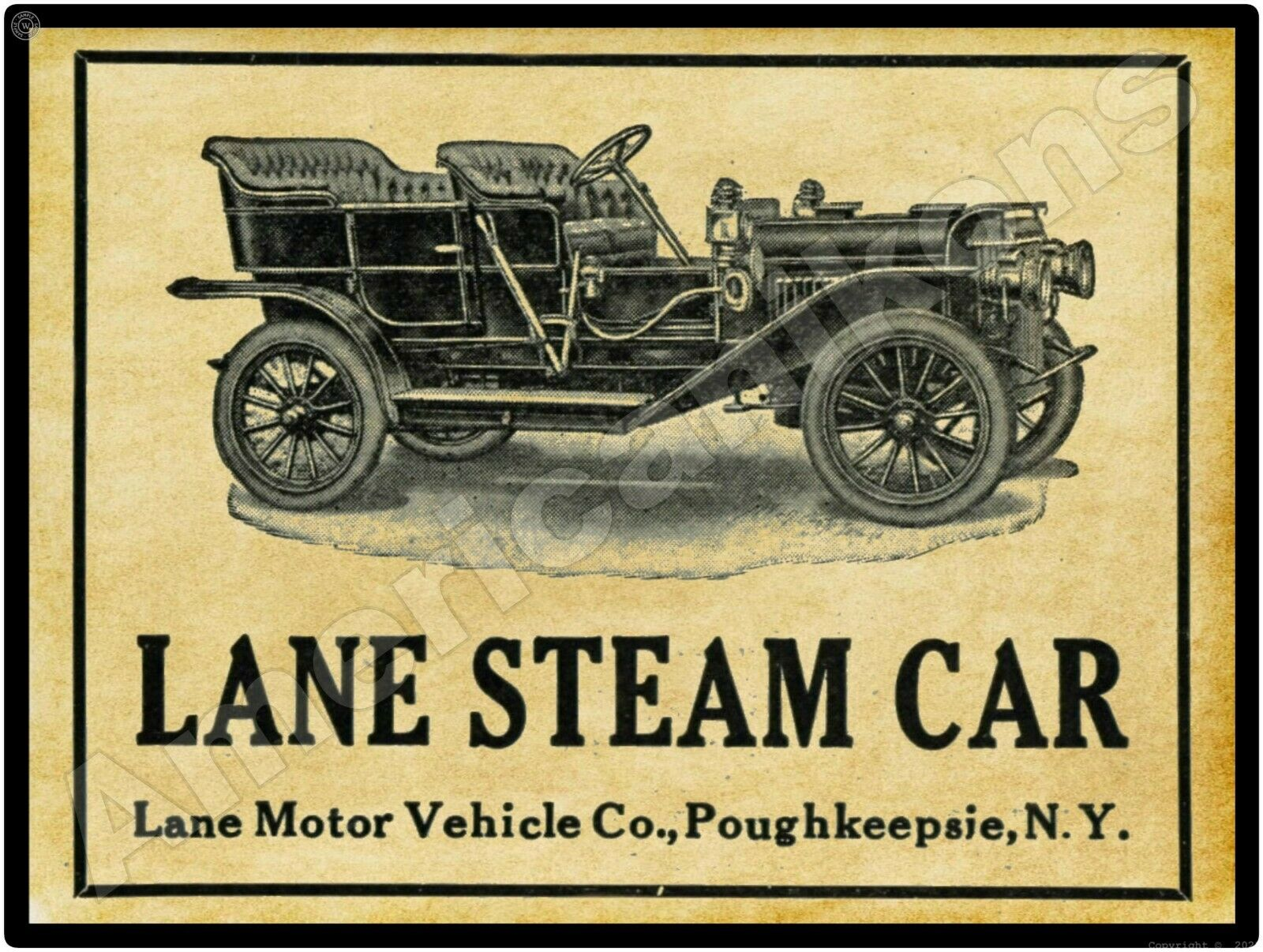 Lane Steam Car, Made In Poughkeepsie NY 1899 to 1910