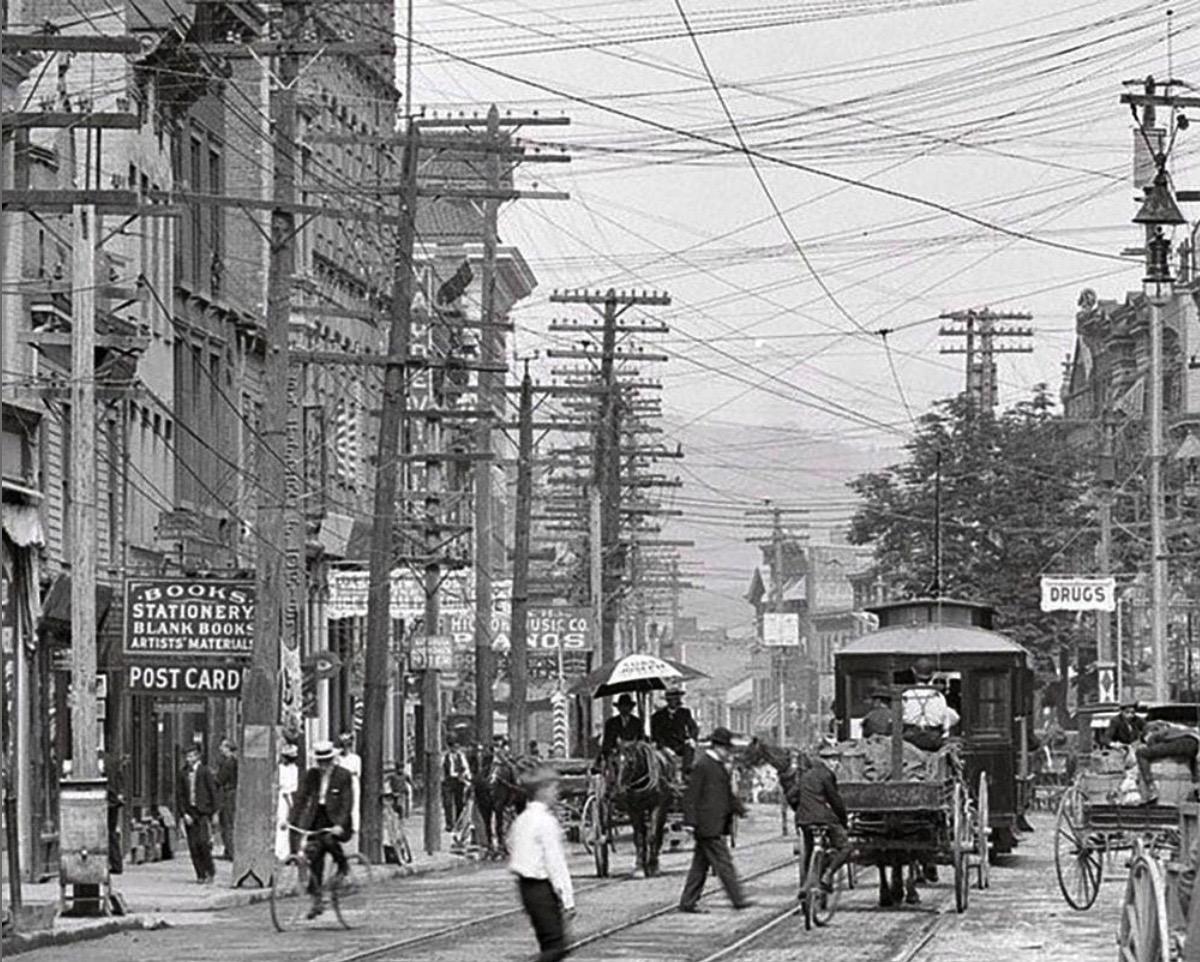 Main Street, Poughkeepsie NY, Dutchess County c1905