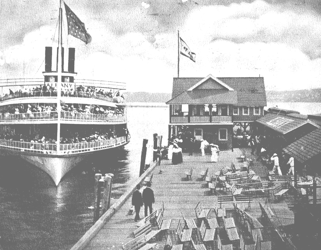 Steamer Albany Putting Into Kingston Landing, Ulster County NY c1907