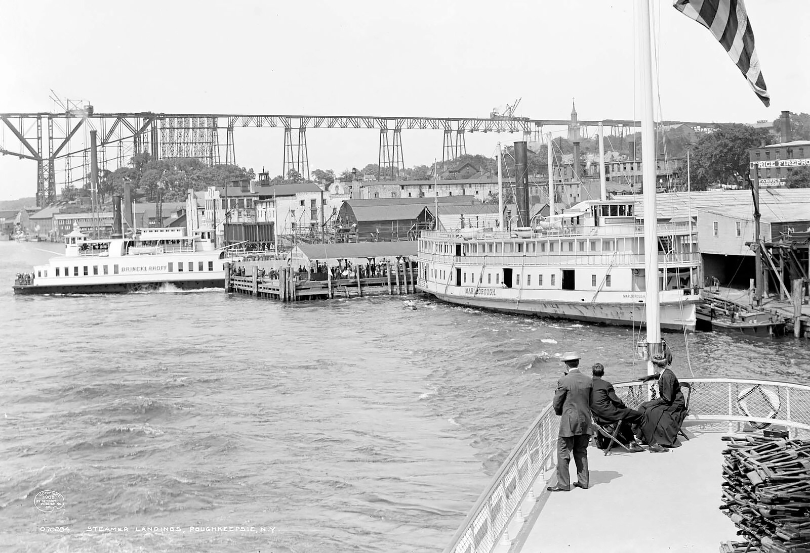 Steamer Landings At Poughkeepsie NY c1907