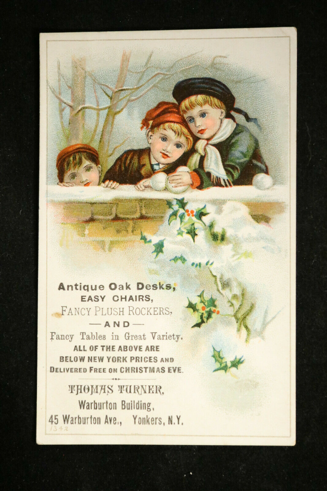 Furniture Victorian Trade Card, Yonkers NY